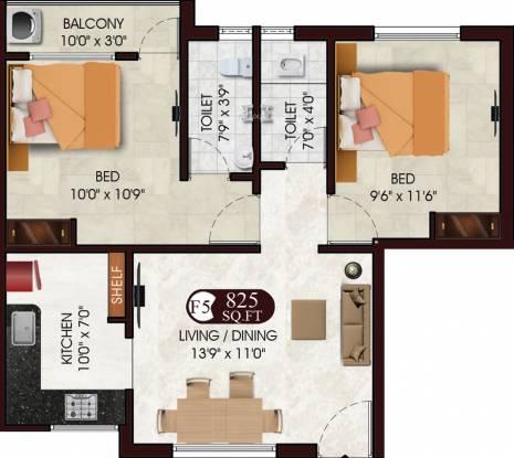 DAC Sarvesh (2BHK+2T (825 sq ft) Apartment 825 sq ft)
