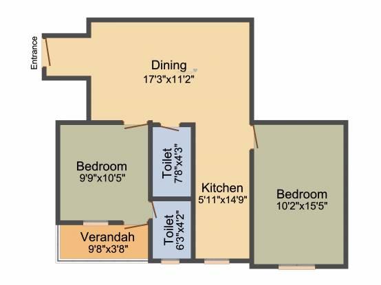 Unique Jagacha Heights (2BHK+2T (897 sq ft) Apartment 897 sq ft)