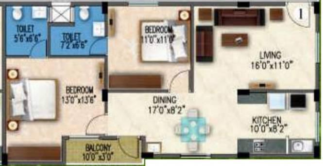 Gunina Mellow (2BHK+2T (1,070 sq ft) Apartment 1070 sq ft)