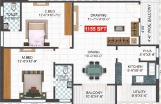 SVL Lotus Pearl (2BHK+2T (1,155 sq ft) Apartment 1155 sq ft)