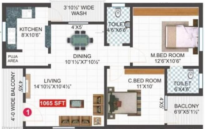 SVL Lotus Lakeview (2BHK+2T (1,065 sq ft) Apartment 1065 sq ft)