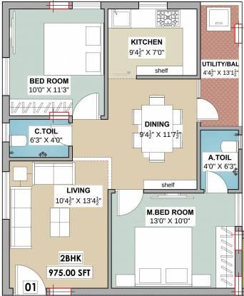 CREO Westend Avenue (2BHK+2T (975 sq ft) Apartment 975 sq ft)