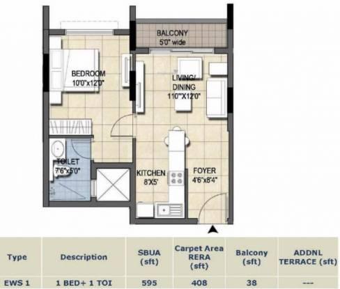 Ajmera Nucleus (1BHK+1T (595 sq ft) Apartment 595 sq ft)