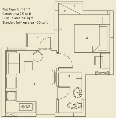 Eden Solaris City Serampore (1BHK+1T (400 sq ft) Apartment 400 sq ft)