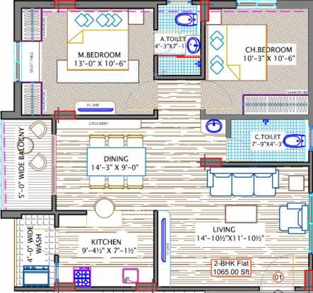 Sree Surya Y3 (2BHK+2T (1,065 sq ft) Apartment 1065 sq ft)