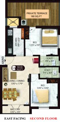 DAC Manavi And Manjari (2BHK+2T (810 sq ft) Apartment 810 sq ft)