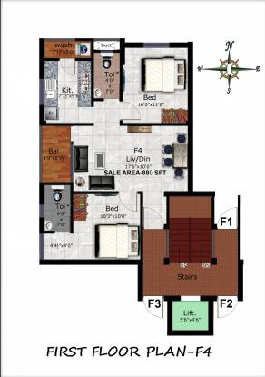 GK Delight (2BHK+2T (880 sq ft) Apartment 880 sq ft)