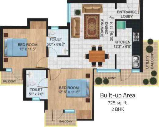 Platinum Delhi Co operative Group Housing Yojna (2BHK+2T (725 sq ft) Apartment 725 sq ft)