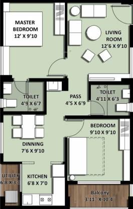 Incor VB City (2BHK+2T (842.06 sq ft) Apartment 842.06 sq ft)