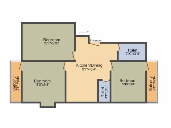 Siddhi Vinayak Vinayak Apartment 3 (3BHK+2T (1,022 sq ft) Apartment 1022 sq ft)