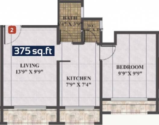 Skywards Regency (1BHK+1T (375 sq ft) Apartment 375 sq ft)