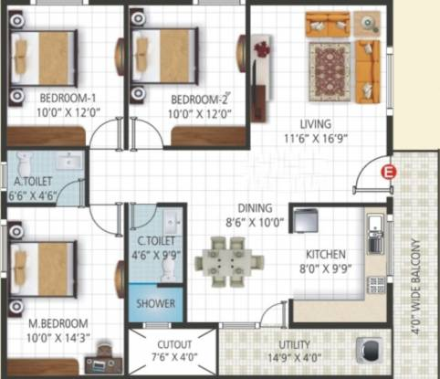 Sri Vani Orchids (3BHK+3T (1,390 sq ft) Apartment 1390 sq ft)