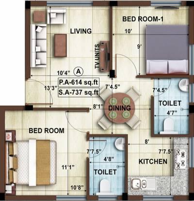 Avigna AHPL Eminence Apartment (2BHK+2T (737 sq ft) Apartment 737 sq ft)