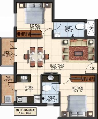 Green Aalam (2BHK+2T (914 sq ft) Apartment 914 sq ft)
