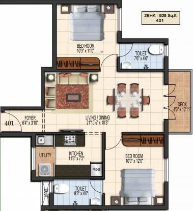 Green Aalam (2BHK+2T (928 sq ft) Apartment 928 sq ft)