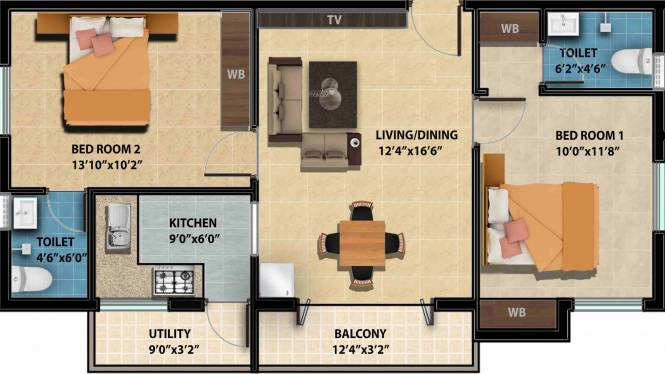 Avigna Platina (2BHK+2T (923 sq ft) Apartment 923 sq ft)