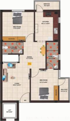 Kosma Anjaneya Enclave (2BHK+2T (1,073 sq ft) Apartment 1073 sq ft)