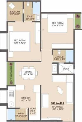 Jhatakia Tirth Casitas (2BHK+2T (706.68 sq ft) Apartment 706.68 sq ft)