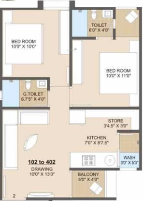 Jhatakia Tirth Casitas (2BHK+2T (569.27 sq ft) Apartment 569.27 sq ft)