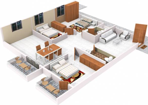 S And M SM Zinnia (2BHK+2T (1,300 sq ft) Apartment 1300 sq ft)