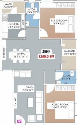 Archies Meadows (2BHK+2T (1,249.91 sq ft) Apartment 1249.91 sq ft)